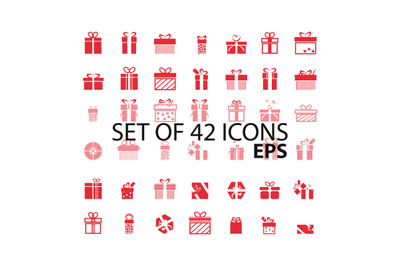 Set of 42 icons. Present. Vector icon