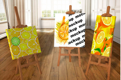 Mockup canvases on easels
