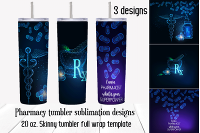 Pharmacy tumbler sublimation designs. Full wrap png template