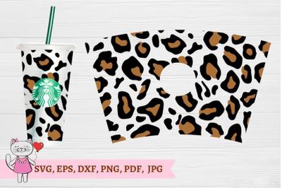 Starbucks Tumbler Wrap Leopard Print SVG