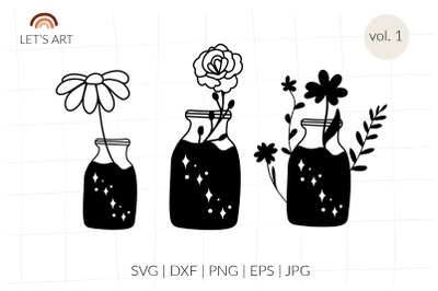 Mason jar svg, floral bottles with daisy, rose, wildflowers. Fragrance