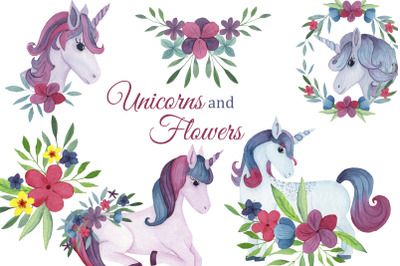 Watercolor Unicorns clipart, pink floral clip art, Baby shower invitat