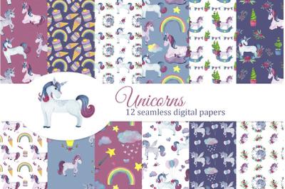 Unicorns digital papers set, seamless pattern, rainbow, hearts, stars,