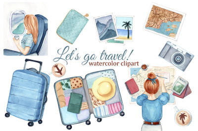 Travel girl watercolor clipart, fashion clipart, summer clipart, suitc