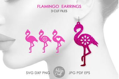 Flamingo earrings SVG, bird earrings