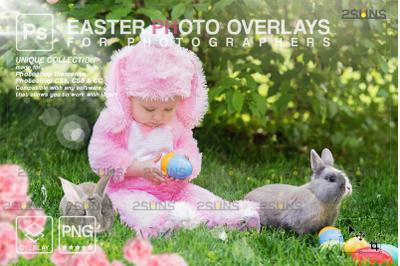 Easter backdrop, Photoshop overlay, Flower frame overlays