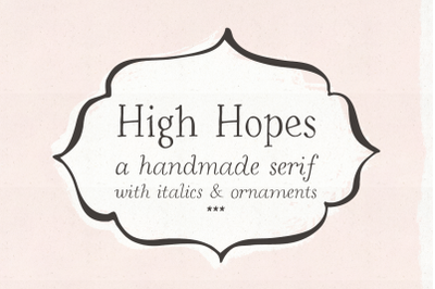 High Hopes handmade serif font