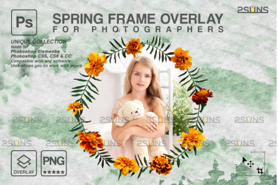Spring flower digital frames overlay