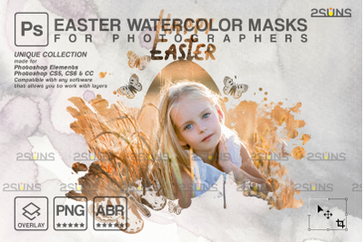 Watercolor overlay & Photoshop overlay: Easter