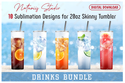 10 Realistic Drinks Patterns for 20oz SKINNY TUMBLER.