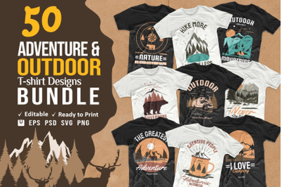 Adventure Outdoor and Camping Vector T-shirt Designs Bundle