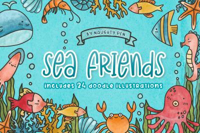 Sea Friends Cute Doodle Clipart