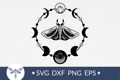 Moon phases with luna moth svg, bohemian crescent moon svg