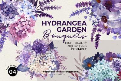 Watercolor Hydrangea Violet Daisy Lavender Bouquets Flower Clipart