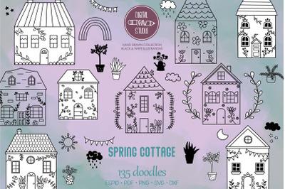 Spring Cottage Doodles | Home, Nature, Cute House, Flower, Plants