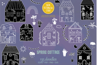 Spring Cottage White Doodles | Home, Nature, Cute House, Flower, Plant