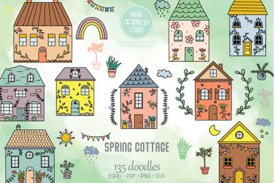 Spring Cottage Color Doodles | Home, Nature, Cute House, Flower, Plant
