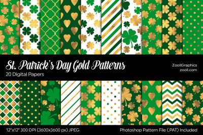 St. Patrick's Day Gold Digital Papers