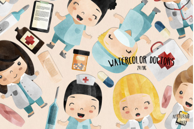 Watercolor Doctor Clipart | Set of 24 |