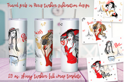 Travel girls in Paris tumbler sublimation design Png