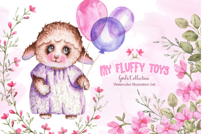 Watercolor Fluffy Toys Girls Set