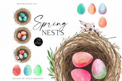 Watercolor Easter egg clipart, Hand-painted bright eggs for Easter egg hunt,  Spring nest for Happy Easter card making set
