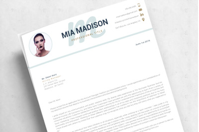 Cover Letter format and Resume Template With Photo. Creative Resume wi