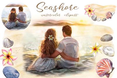 Seashore watercolor clipart. Seascape, seashells. Wedding clipart png