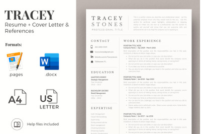 1, 2 and 3 Page Easy Resume Template and Matching Cover Letter.
