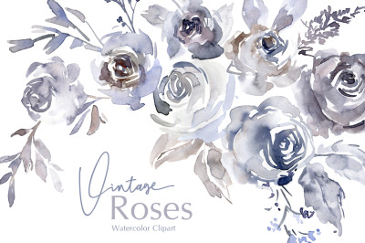 Watercolor Vintage Roses Flowers Png