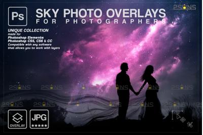 Night sky overlay & Night sky backdrop, Photoshop overlay