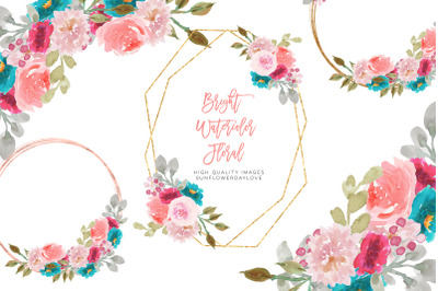 Geometric Gold Frame Pink Clipart, Colorful Pink Flower clipart