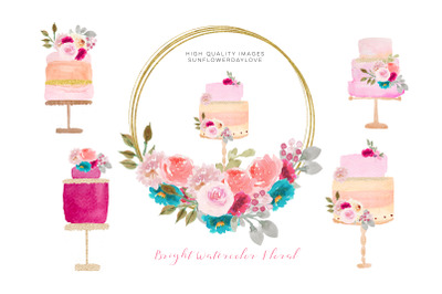 Pink Gold Watercolor Cakes Clipart , Pink Cakes Clipart
