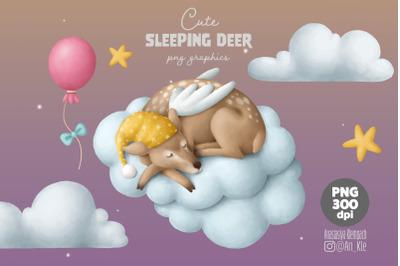 Sleeping baby reindeer clipart