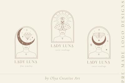 Lady Luna Pre-Made Brand Logo Designs. Blog. Tarot. Tattoo. Moon, Star