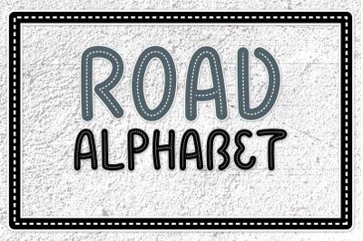 Road Alphabet. Kids Letters SVG PNG DXF Clipart