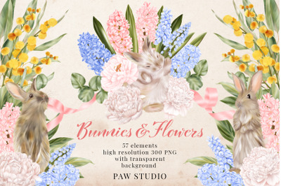 Easter Bunny Flowers Clipart Peony Hyacinth Leaves