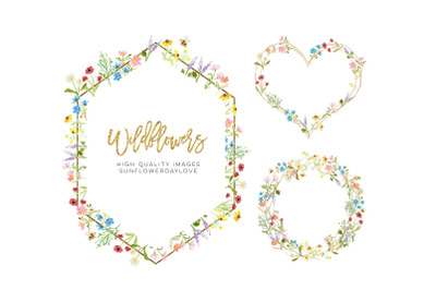 Frame Watercolor Wildflowers clipart, Geometric clipart, botanical