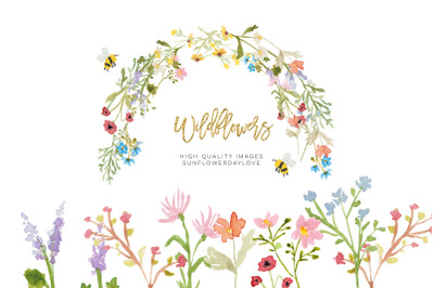 Wildflowers watercolor clipart, greeting cards, Floral Watercolor, DIY