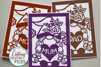 Mom Mum Dad Birthday Mothers Fathers day svg cut out card