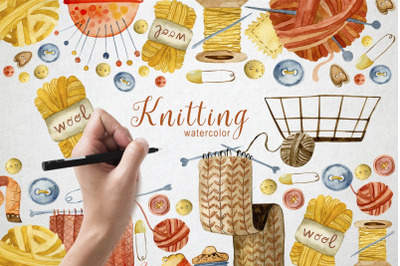 Knitting Watercolor Illustrations