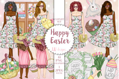 Easter Clipart, Easter Spring Graphics, Easter Fashion Girl