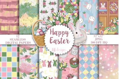 Easter Digital Papers, Easter Seamless Pattern, Spring Scrapbook Paper