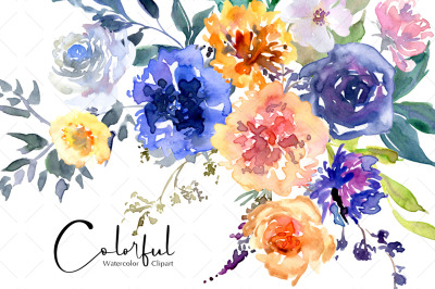 Bright Spring Watercolor Flowers Png