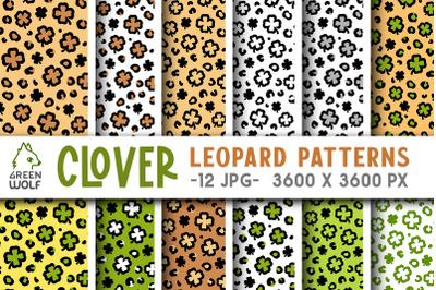 Leopard print digital paper bundle St patricks day seamless pattern