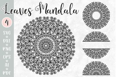 Leaves Mandala SVG - Monogram, split mandala, half mandala