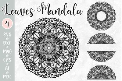 Leaves Mandala Intricate SVG - Monogram, Split, Half Mandala