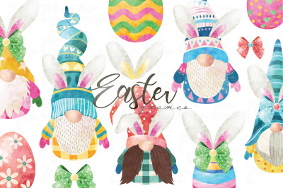 Watercolor Cute Easter Gnomes