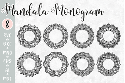 Mandala Monogram Frame SVG Bundle