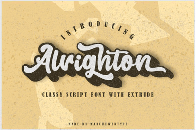 Alrighton - Classy Script Font with Extrude